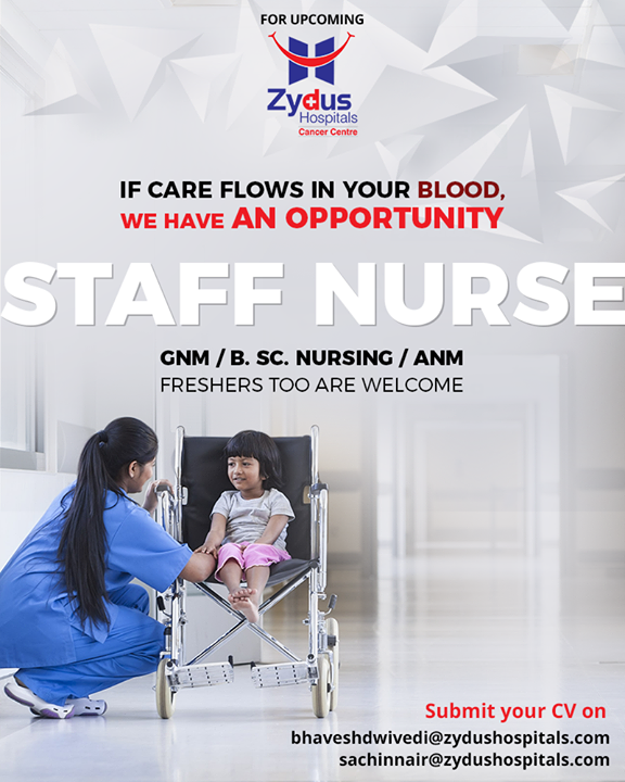 We're looking for compassionate Staff nurses for a lucrative career opportunity!  Interested candidates can forward CV to bhaveshdwivedi@zydushospitals.com sachinnair@zydushospitals.com  #RecruitmentOpen #StaffNurses #ZydusHospitals #StayHealthy #Ahmedabad #GoodHealth #NursingCare #PassionForNursing #PassionForCare #NurseRecruitment #ZydusCancerCentre