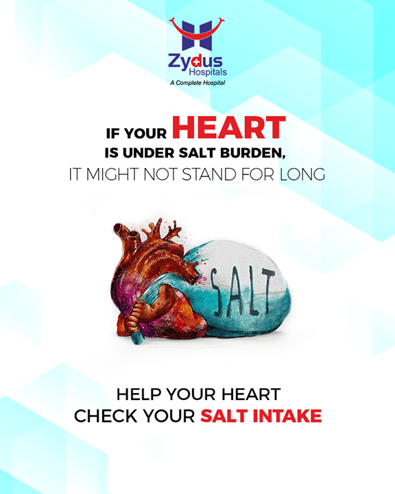 Keeping a check on your salt intake is essential for good heart health!   #HeartCare #HeartDisease #GoodHeartCare #StayHealthy #ZydusCare #ZydusHospitals #Ahmedabad #Gujarat #bloodpressure #highbloodpressure