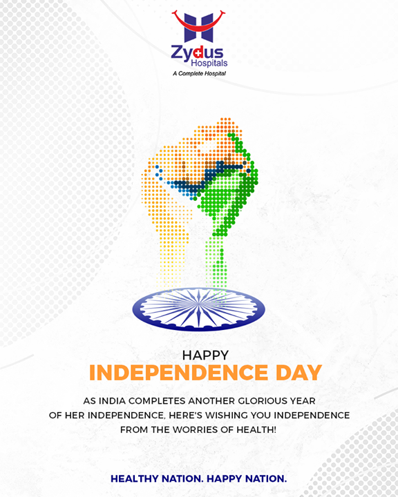 As India completes another glorious year of her Independence, here's wishing you independence from the worries of health!   #HappyIndependenceDay #IndependenceDay19 #IndependenceDay #IndependenceWeek #Celebration #15thAugust #Freedom #India #ZydusHospitals #StayHealthy #Ahmedabad #GoodHealth #ZydusCares