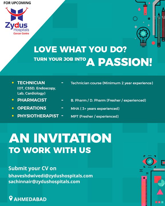 An invitation to work with us and to turn your job into a passion! We're looking for following openings!   #ZydusHospitals #StayHealthy #Ahmedabad #GoodHealth #JobOpportunities #NewJobAlert