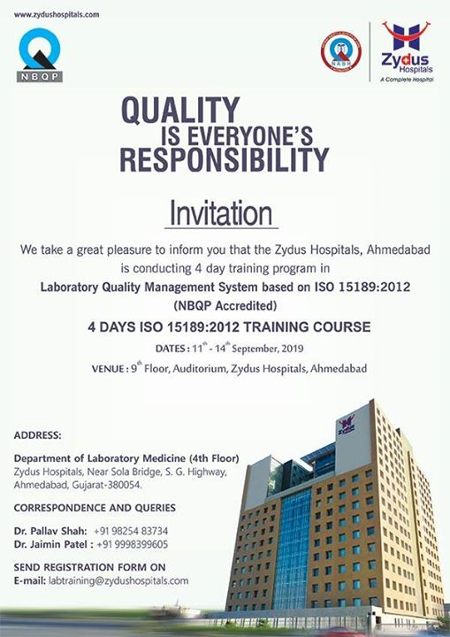 Knowledge multiplies when shared. We take immense pleasure that we're conducting a 4-day training program in Laboratory Quality Management system based on ISO 15189:2012 on 11th September to 14th September!  #4DayTrainingProgram #TrainingProgram #ZydusHospitals #StayHealthy #Ahmedabad #GoodHealth