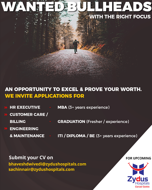 Here's an exciting opportunity to excel & prove your worth! Inviting applications for varied openings! #ZydusHospitals #Recruitment #Ahmedabad #Gujarat
