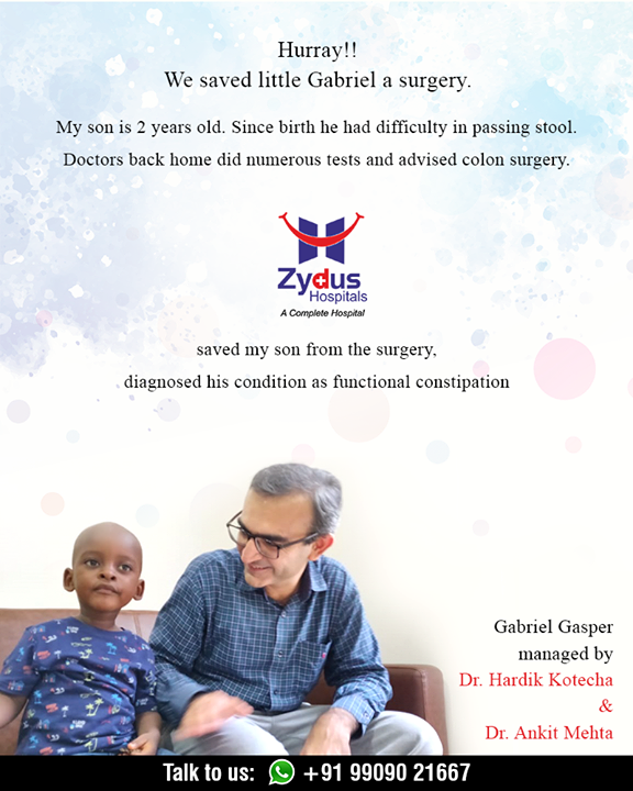 #Zydus saved Gabriel a surgery Happiness lies in little smiles. Such amazing heartfelt stories are where we source our inspiration from. Thankful for the trust shown by the family members from across the continent.  #RealPeopleRealStories #ZydusHospitals #Zyduspediatrics #Peadiatric #Gastroenterology #StayHealthy #Ahmedabad #GoodHealth #ZydusCares