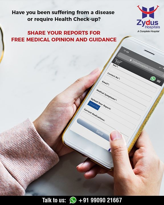 Share your reports with us to get medical opinions & guidance!  #ZydusHospitals #StayHealthy #Ahmedabad #GoodHealth #WeCare #HealthCheckUp #CheckUps