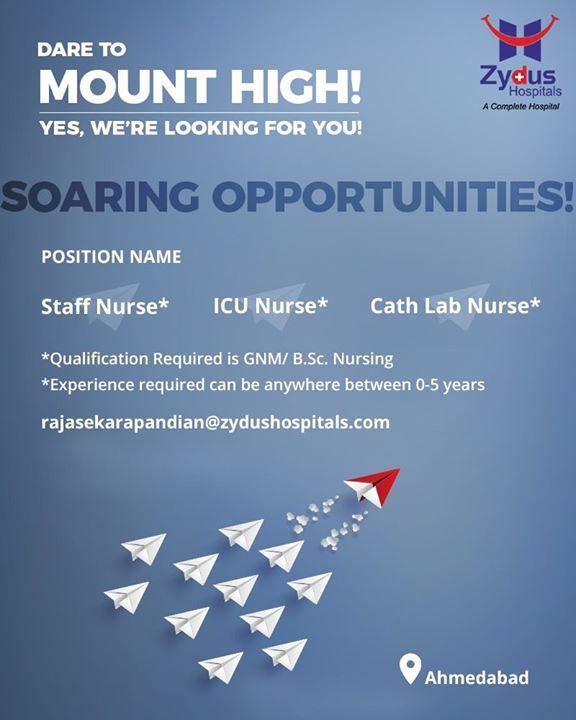 Zydus Hospitals,  NURSES, Freshers, SoaringOpportunities, StaffNurse, ICUNurse, CathLabNurse, ZydusHospitals, Recruitment, Ahmedabad, Gujarat
