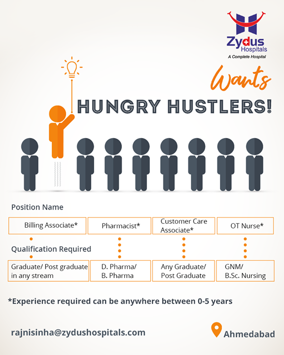 If you're passionate about finding your dream job, we're looking forward to hiring you! A plethora of openings for hungry hustlers at Zydus Hospitals  #SoaringOpportunities #BillingAssociate #Pharmacist #CustomerCareAssociate #OTNurse #ZydusHospitals #Recruitment #Ahmedabad #Gujarat
