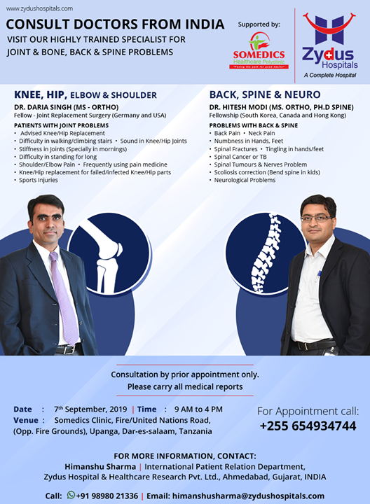 Visit our highly trained specialist for joint & bone, back & spine problems on 7th September 2019  at Somedics clinic @ Dar-es-salaam, #Tanzania!  #ZydusHospitals #Ahmedabad #GoodHealth #WeCare