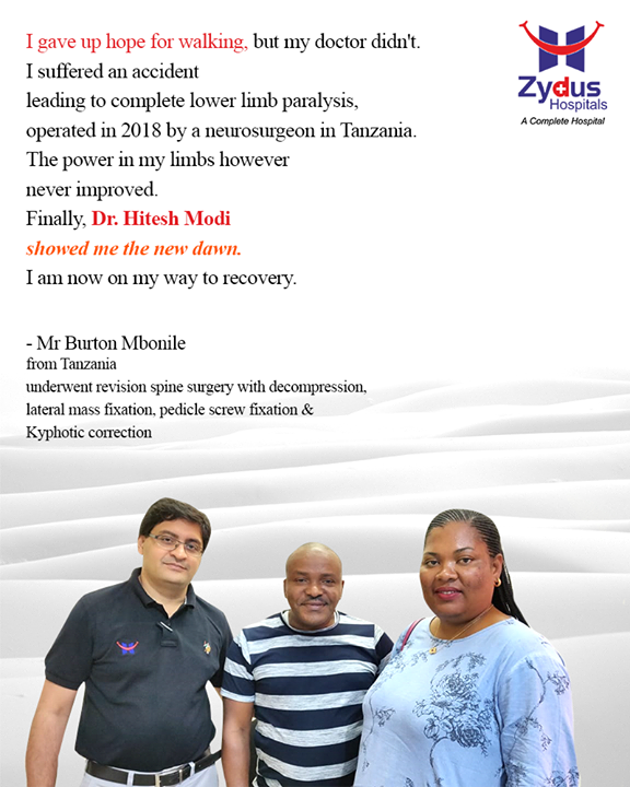 It's a humbling experience to be able to become a part of someone's life journey & to show new dawn of recovery.  #StayHealthy #ZydusCare #ZydusHospitals #Spinesurgery #Revisionspinesurgery #Ahmedabad #Gujarat