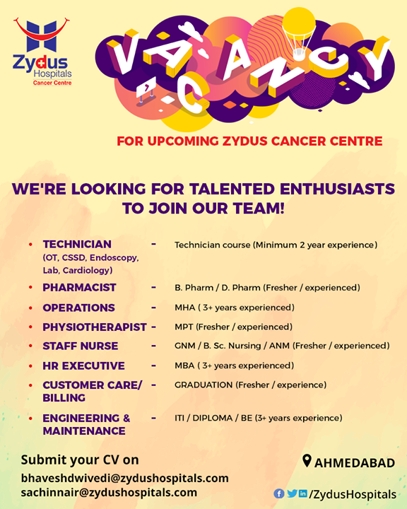 We are looking for enthusiastic individuals to join our growing team at Zydus Hospitals!  #SoaringOpportunities #Recruitment #ZydusCare #ZydusHospitals #Ahmedabad #Gujarat