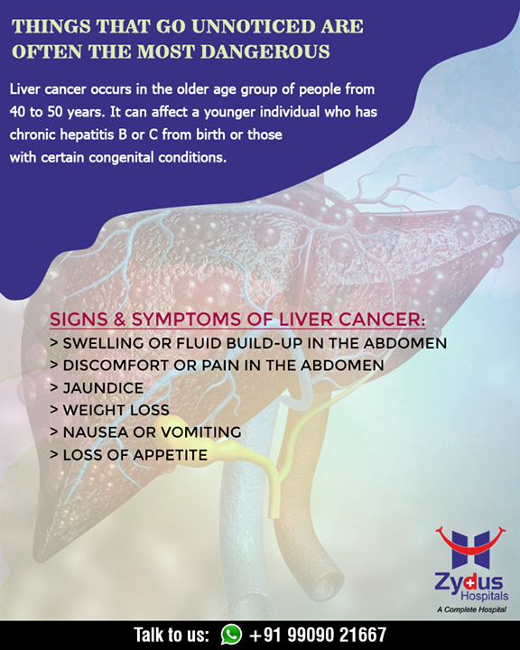 Liver cancer is when a malignant tumor starts in or on the liver. Here are the signs & symptoms of liver cancer.  #LiverCancer #CancerCentre #ZydusHospitalCancerCentre #CancerCare #ZydusCare #ZydusHospitals #Ahmedabad #Gujarat