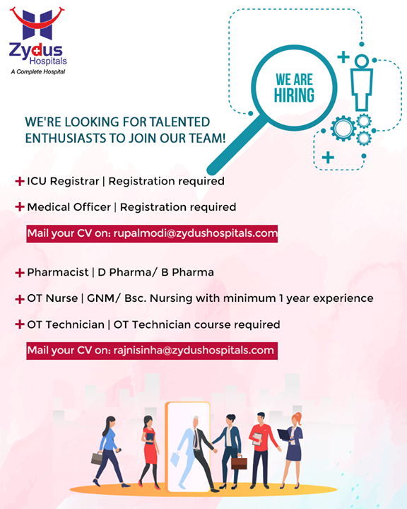 Come join our ever-growing enthusiastic team!  #JoinUs #WeAreHiring #ZydusHospitals #Recruitment #Ahmedabad #Gujarat