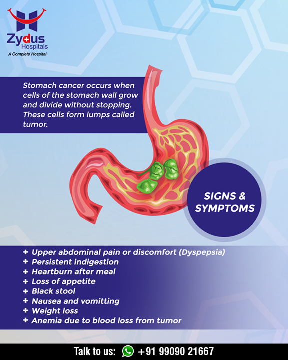 Sign and symptoms of stomach cancer!  #ChangeIsGood #CancerCentre #ZydusHospitalCancerCentre #CancerCare #ZydusCare #ZydusHospitals #Ahmedabad #Gujarat