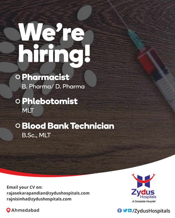 A job that's right for you! We're #hiring heroes!  #ZydusHospitals #Ahmedabad #InternationalRelations #PeopleWithPassion