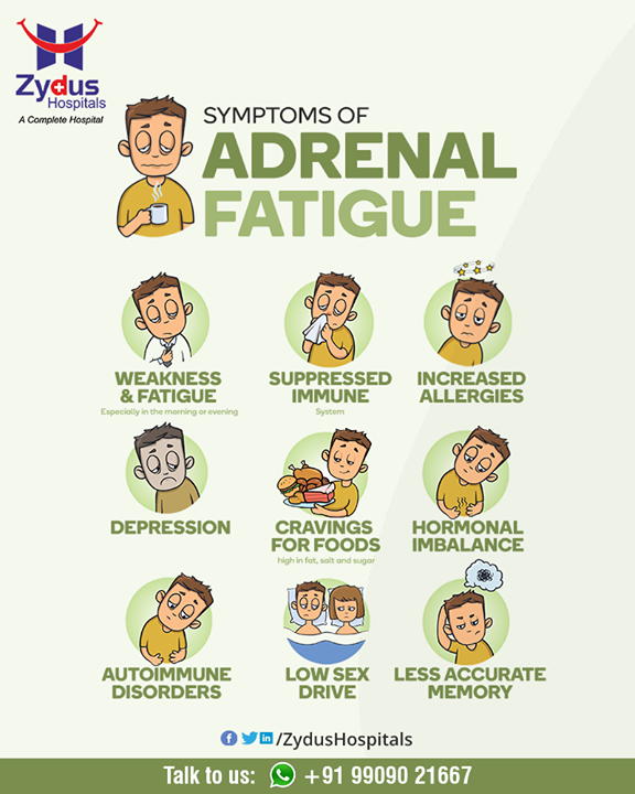 "Are you perpetually tired? When patients present claiming that stress has worn out their adrenal glands, it can be easy to discount their belief in ""adrenal fatigue"" — but they often have real symptoms that require treatment.  Visit your Endocrinologist to know more or talk to us  #AdrenalFatigue #Endocrinologist #ZydusCare #ZydusHospitals #Ahmedabad #Gujarat"