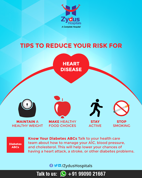 There are many things you can do to reduce your chances of getting heart disease.  #HeartAttacks #HeartCare #HeartDisease #GoodHeartCare #StayHealthy #ZydusCare #ZydusHospitals #Ahmedabad #Gujarat