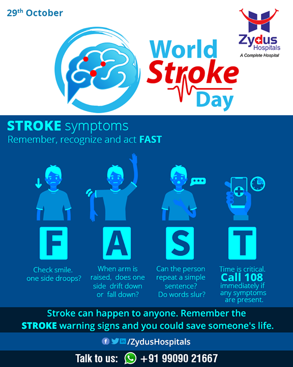 This World Stroke Day remember, recognize and act FAST.   #WorldStrokeDay #StrokeDay #StayHealthy #ZydusCare #ZydusHospitals #Ahmedabad #Gujarat