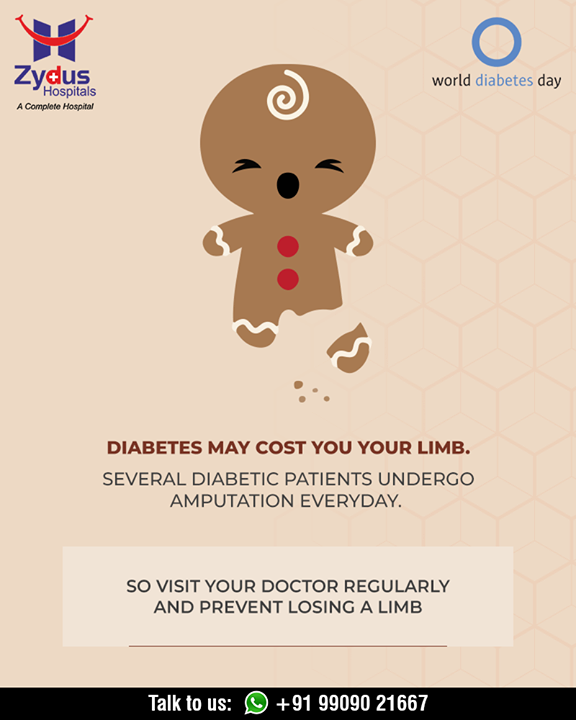If you have diabetes, it's especially important to take good care of your limb to lower your risk visit your doctor regularly.  Diabetes helpline: +91 9909021667  #Detection #Management #Guidance #GoodHealth #WorldDiabetesDay #StayHealthy #ZydusCare #ZydusHospitals #Ahmedabad #Gujarat