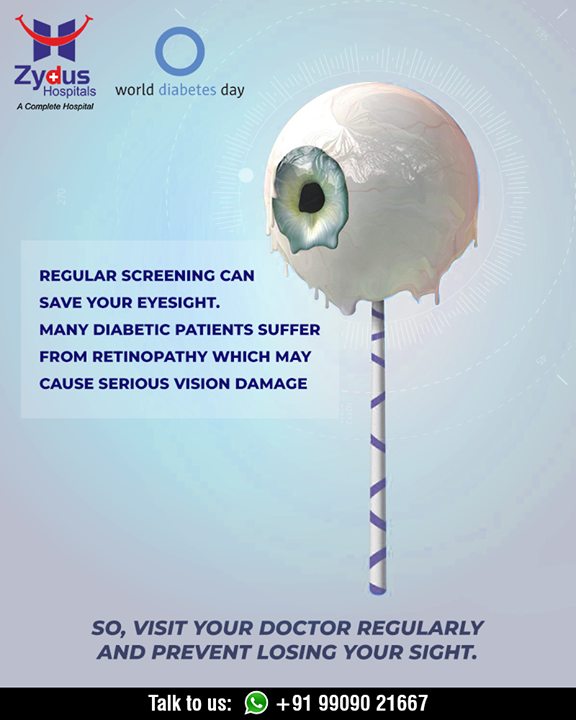 Many diabetic patients suffer from retinopathy which may cause serious vision damage  Diabetes helpline: +91 9909021667  #WorldDiabetesDay #DiabetesDay #Detection #Management #Guidance #GoodHealth #StayHealthy #ZydusCare #ZydusHospitals #Ahmedabad #Gujarat