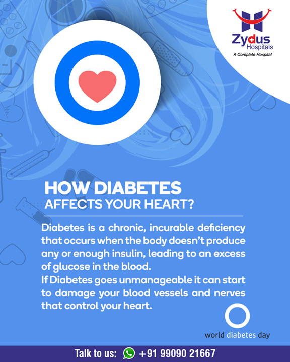 Diabetes is a chronic, incurable deficiency that occurs when the body doesn't produce any or enough insulin, leading to an excess of glucose in the blood.  Diabetes helpline: +91 9909021667  #WorldDiabetesDay #DiabetesDay #Detection #Management #Guidance #GoodHealth #StayHealthy #ZydusCare #ZydusHospitals #Ahmedabad #Gujarat