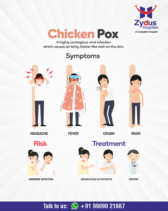 Chickenpox used to be common in kids, causing a very itchy red rash all over the body.  #Chickenpox  #CommonPediatric #GoodHealth #StayHealthy #ZydusCare #ZydusHospitals #Ahmedabad #Gujarat