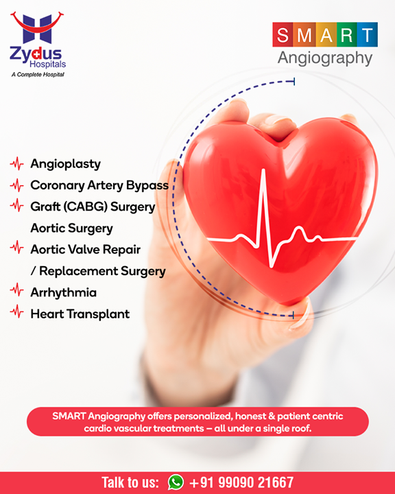 SMART Angiography offers personalized, honest & patient centric cardio vascular treatments - all under a single roof.  #Angiography #HeartCare #SMARTAngiography #HeartDisease #GoodHeartCare #StayHealthy #ZydusCare #ZydusHospitals #Ahmedabad #Gujarat