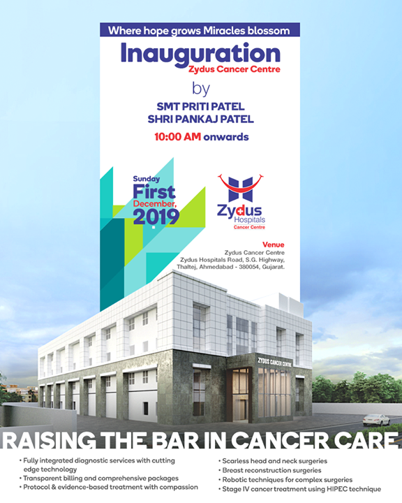 Where hope grows Miracles blossom. Raising the bar in Cancer Care.  #OpeningThis1December #CancerCentre #ZydusCancerCentre #CancerCare #ZydusCare #ZydusHospitals #Ahmedabad #Gujarat