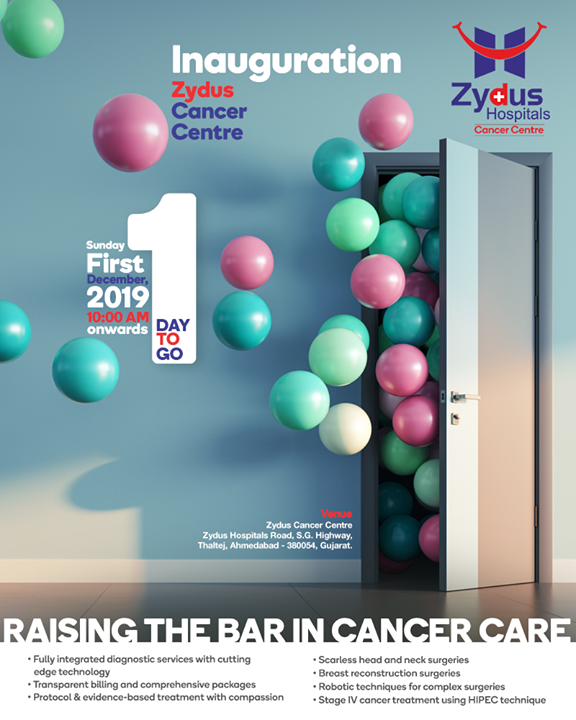 Hope brings will-power & where there is a will there is always a way. The wait is about to end & the hope shall shine bright! Announcing the grand opening of the most comprehensive cancer centre of Gujarat. It is time to rise & shine against cancer with Zydus Hospitals and Zydus Cancer Centre.  #OpeningThis1December #CancerCentre #ZydusCancerCentre #CancerCare #ZydusCare #ZydusHospitals #Ahmedabad #Gujarat