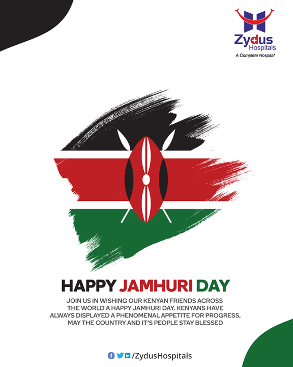Join us in wishing our Kenyan friends across the world a Happy Jamhuri Day. Kenyans have always displayed a phenomenal appetite for progress, may the country and it's people stay blessed  #HappyJamhuriDay #Kenya #Happyindependence #StayHealthy #ZydusCare #ZydusHospitals
