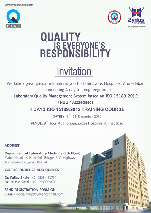 We take a great pleasure to inform you that the Zydus Hospitals, Ahmedabad is conducting 4 day training program in Laboratory Quality Management System based on ISO 15189:2012  Register Now: https://zydushospitals.com/QMS_Invitation2019.pdf  #trainingprogram #4daytrainingprogram #LaboratoryQualityManagementSystem #ZydusCare #ZydusHospitals #StayHealthy #Ahmedabad #Gujarat