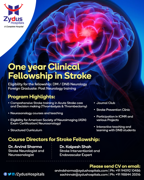 BE A STROKE SPECIALIST - OPEN FOR LOCAL \ INTERNATIONAL POST GRADUATE NEUROLOGISTS   One year clinical fellowship in STROKE  If interested please send CV on email: arvindsharma@zydushospitals.com,  sachinnair@zydushospitals.com   #clinicalfellowship #Stroke #StayHealthy #Neurology #ZydusCare #ZydusHospitals #Ahmedabad #Gujarat