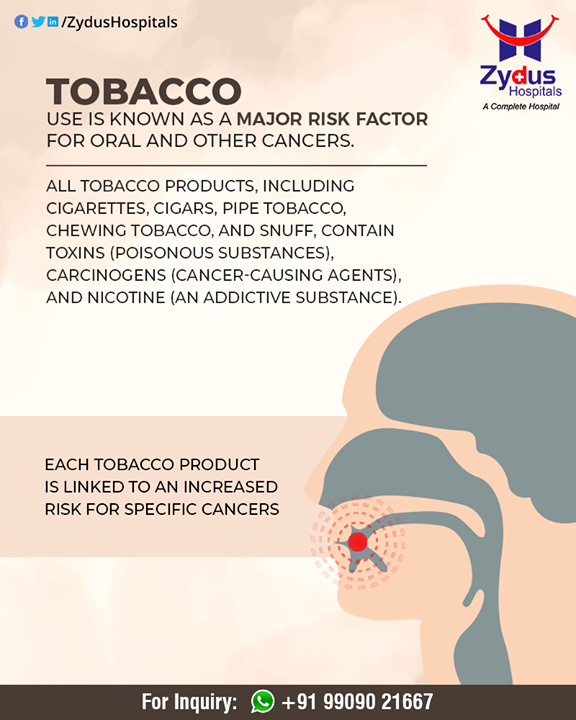 Tobacco use is known as a major risk factor for oral and other cancers.  #CancerCare #OralCancer #ZydusCare #ZydusHospitals #Ahmedabad #Gujarat