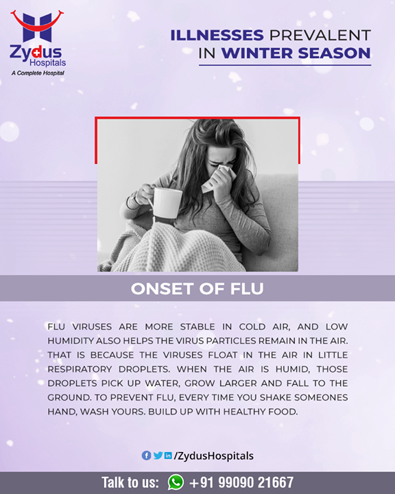 Flu is a respiratory illness that a virus causes. It is highly contagious and can be life-threatening for some people.  #Flu #Virus #contagious #Winter #ZydusHospitals #HealthCare #ZydusCare #Ahmedabad