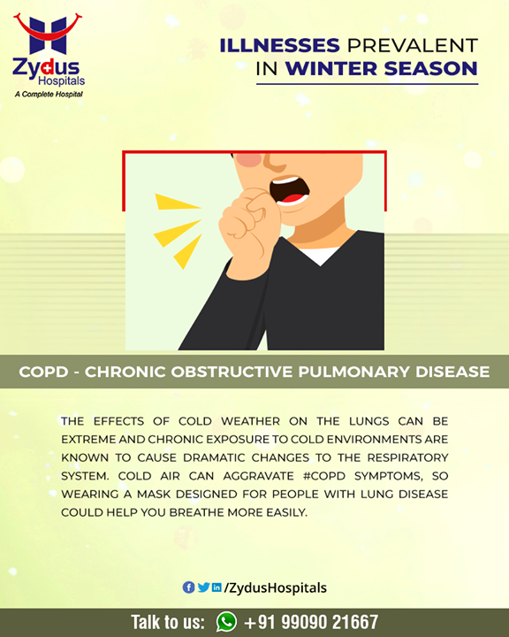 Chronic obstructive pulmonary disease (COPD) is a chronic inflammatory lung disease that causes obstructed airflow from the lungs.   #ChronicObstructivePulmonaryDisease #lungdisease #COPD #Winter #ZydusHospitals #HealthCare #ZydusCare #Ahmedabad