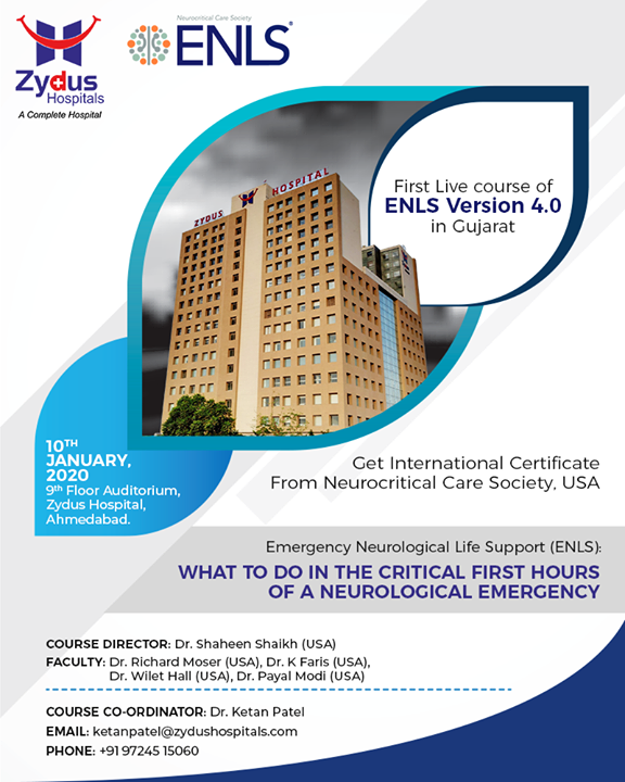 Get enrolled in the First live course of ENLS Version 4.0 in Gujarat.  #ENLSVersion4 #ZydusHospitals #StayHealthy #GoodHealth #WeCare #Ahmedabad #Gujarat