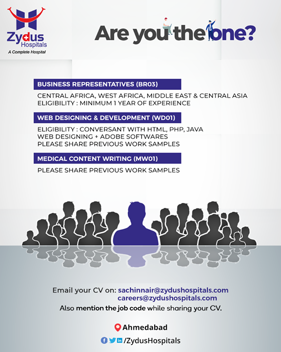 If you are looking forward to creating a successful career in the healthcare domain then this is the opportunity for you!  #Hiring #HealthcareRecruitment #Recruitment #ZydusHospitals #HealthCare #ZydusCare #Ahmedabad