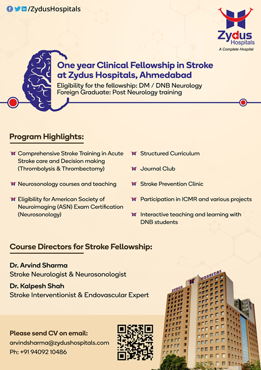Want to become a stroke specialist?  Get yourself registered for one-year clinical fellowship in stroke at Zydus Hospitals, Ahmedabad  Register Now: https://zydushospitals.com/stroke_fellowship_form/  #clinicalfellowship #Stroke #StayHealthy #Neurology #ZydusCare #ZydusHospitals #Ahmedabad #Gujarat