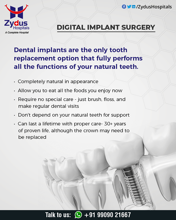 Digital implant surgery uses a 3D computer simulation to check the bone condition and nerve position. With this information, a reputable cosmetic dentist will be able to plan surgery with minimal incision. Since digital implant surgery focuses on making the smallest incision possible, there is significantly less pain compared to traditional implant surgery.  #dental #dentist #dentistry #smile #teeth #tooth #dentalcare #dentalclinic #teethstraighten #ZydusHospitals #HealthCare #ZydusCare #Ahmedabad