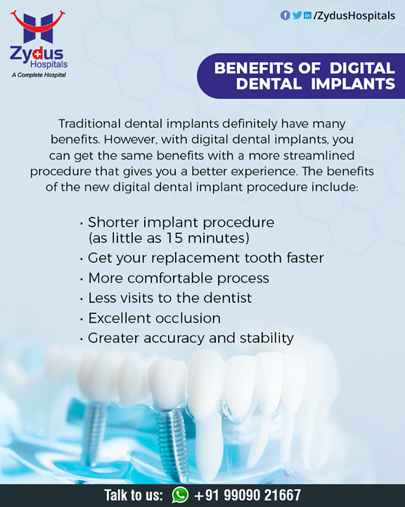 The next best thing to real teeth, dental implants are designed to look, feel, and function like your natural teeth so you can be confident in your smile.  #Digitalimplant #dental #dentist #dentistry #smile #teeth #tooth #dentalcare #dentalclinic #ZydusHospitals #HealthCare #ZydusCare #Ahmedabad