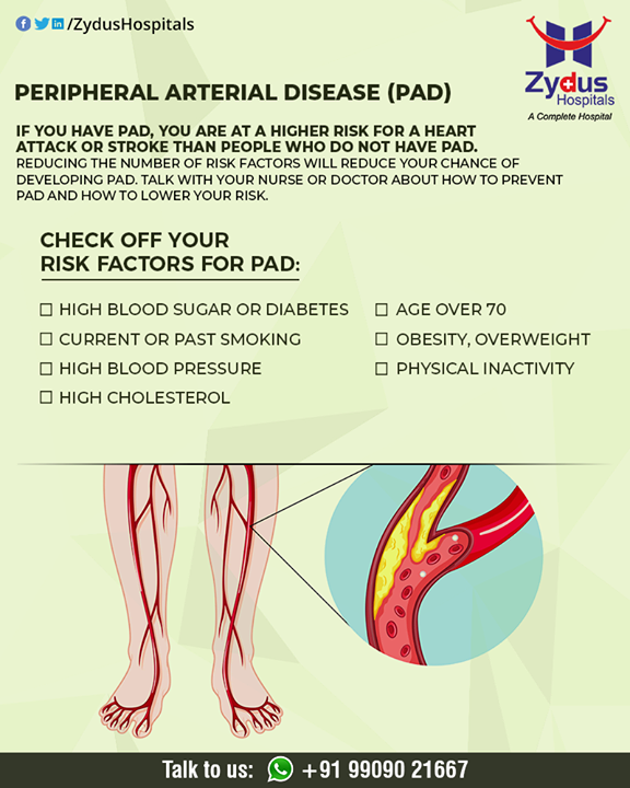 Factors that increase your risk of developing peripheral artery disease include:  #PeripheralArteryDisease #BloodVessels #ZydusHospitals #HealthCare #ZydusCare #Ahmedabad