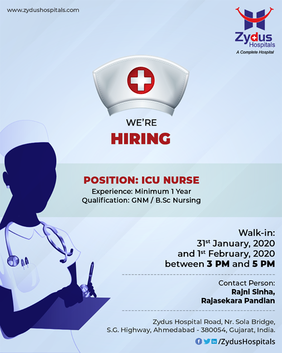 Great Nursing Careers live here. We are Hiring!  #RecruitmentOpen #ICUNurse #ZydusHospitals #StayHealthy #Ahmedabad #GoodHealth #NursingCare #PassionForNursing #PassionForCare #NurseRecruitment