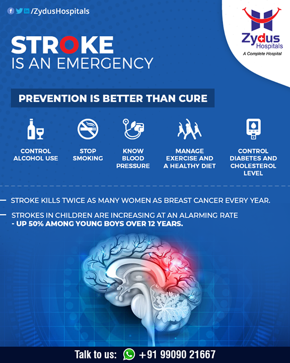 A stroke occurs when the blood supply to the brain is interrupted or when there's bleeding in the brain.  #BrainStroke #Stroke #StrokeCare #ZydusHospitals #HealthCare #ZydusCare #Ahmedabad