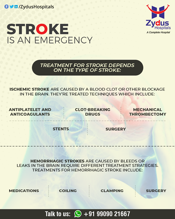 Treatment depends on the type of stroke: ischemic or hemorrhagic.  #BrainStroke #Stroke #StrokeCare #ZydusHospitals #HealthCare #ZydusCare #Ahmedabad