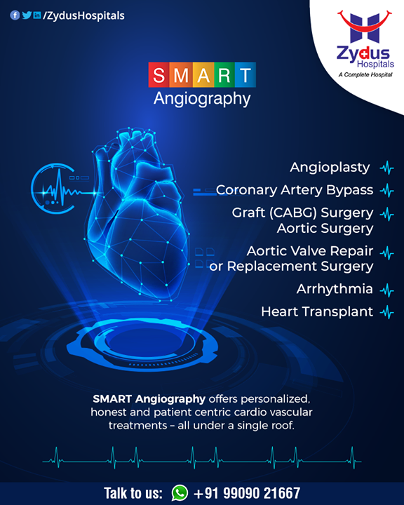 SMART Angiography offers personalized, honest & patient-centric cardiovascular treatments - all under a single roof.  #Angiography #HeartCare #SMARTAngiography #HeartDisease #GoodHeartCare #StayHealthy #ZydusCare #ZydusHospitals #Ahmedabad #Gujarat