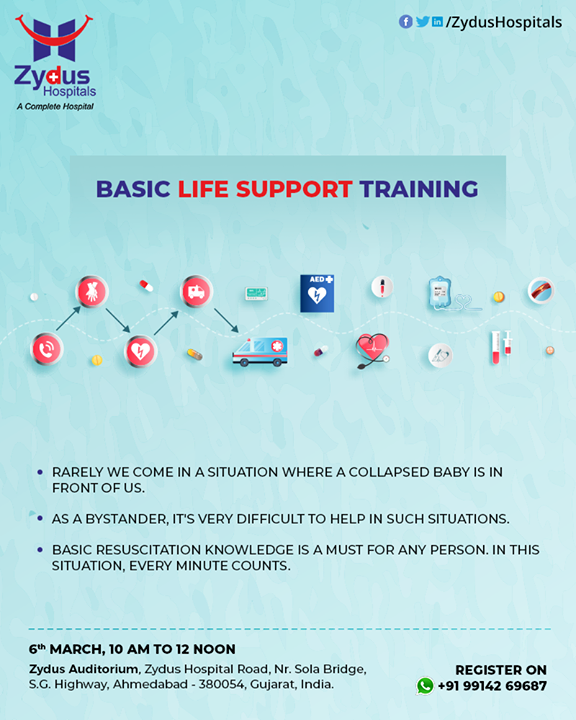 Basic life support training by Dr. Ankit Mehta will give you insights on how to act in case of pediatric life-threatening emergencies.  #BasicLifeSupportTraining #BasicLifeSupport #ZydusCare #ZydusHospitals #Ahmedabad #Gujarat