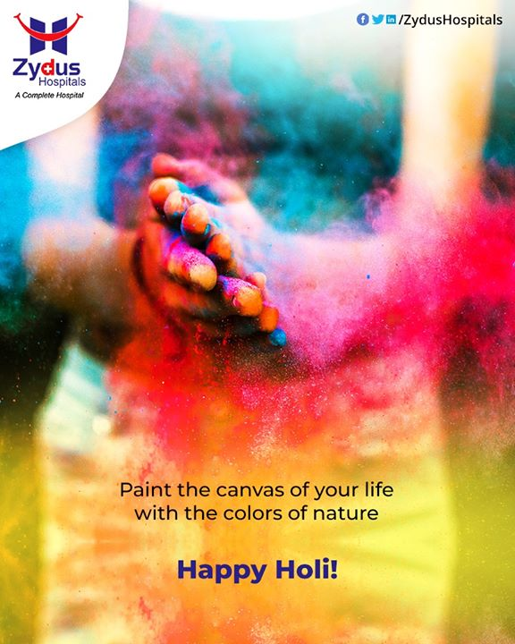 Paint the canvas of your life with the colors of nature.  #HappyHoli2020 #Holi2020 #HappyHoli #होली #Holi #IndianFestival  #RangBarse #Colours #FestivalOfColours #ZydusCare #ZydusHospitals #Ahmedabad #Gujarat