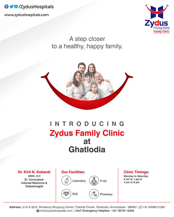 A step closer to a healthy, happy family.  A leader in quality healthcare and Best Hospital is introducing Zydus Family Clinic at Ghatlodia.  #ZydusFamilyClinic #ZydusCare #ZydusHospitals #Ahmedabad #Gujarat