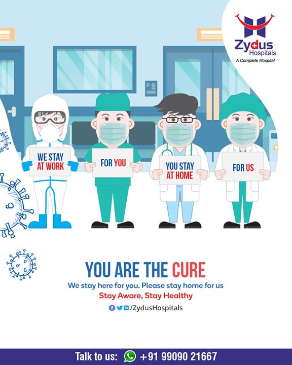 Yes. Stay at Home. Break the chain.  We are there for you! Are you at home for us?  #IndiaFightsCorona #COVID19 #StayHome #StaySafe #TeleHealth #TeleMedicine #TeleConsultation #ZydusHospitals #Ahmedabad