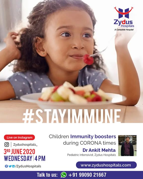 Kids & COVID - Can my kid catch corona infection? Join us for a #InstaLive session with Dr. Ankit Mehta, Pediatric Intensivist, Zydus Hospitals, Ahmedabad and learn about #immunity boosters in children during COVID times.  3rd June, 2020 - Wednesday @ 4 PM IST  #COVID #children #Pediatrics #ZydusHospitals #Ahmedabad #SmileofGoodHealth