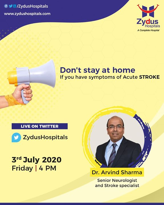 #ACUTESTROKE is a medical emergency, even in times of #COVID19 such patients need immediate medical attention. Let's understand the symptoms & risk - better-informed people can save lives.  #SeekHelpFAST #brainstroke #dontstayathome #stroke #ZydusHospitals #Ahmedabad #SmileofGoodHealth