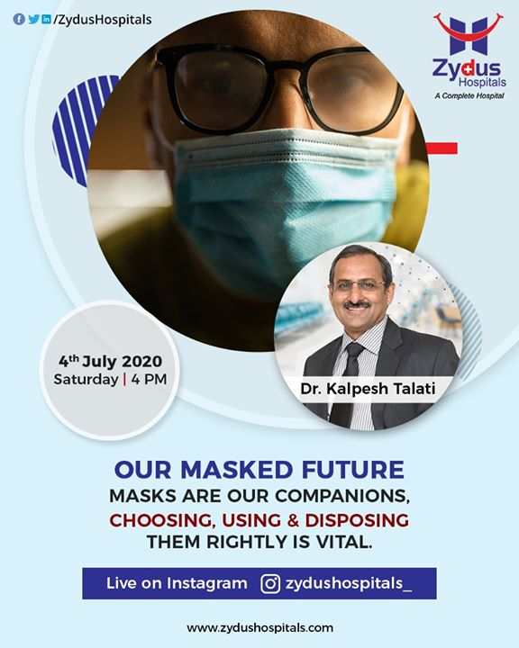 Cloth Mask, 3-ply mask or N95 mask - which one to use? Be a #MaskWarrior and learn with Dr. Kalpesh Talati Join us for an Instagram live session on 4th July, 2020 at 4 PM  #WearAMaskBeAMaskWarroir #Instagramlive #InstaLive #ZydusHospitals #Ahmedabad #SmileofGoodHealth